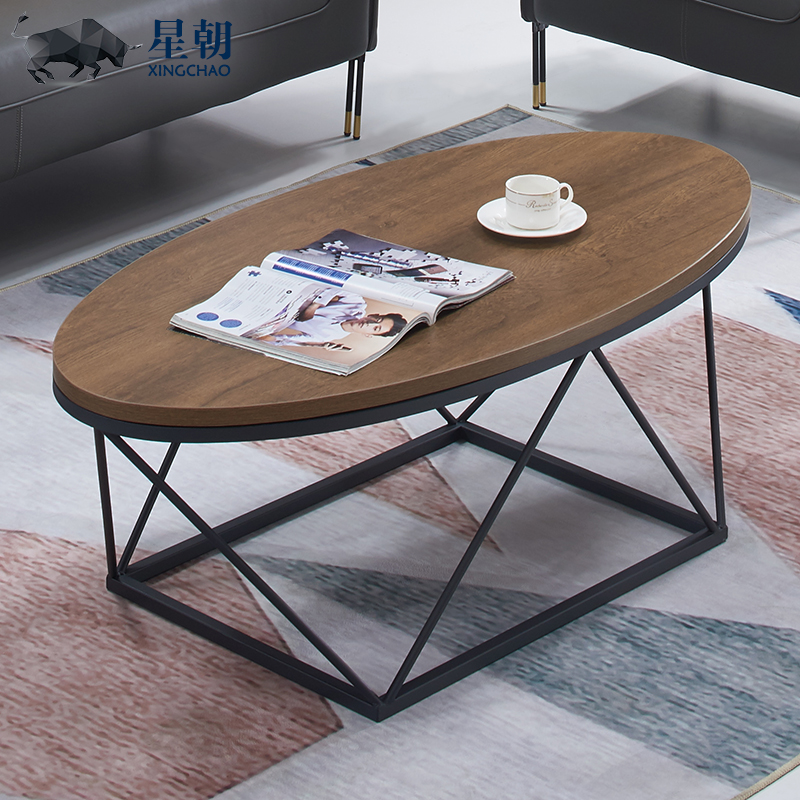 Nordic creative light luxury iron industry ins style simple modern small-house guest reception office long coffee table