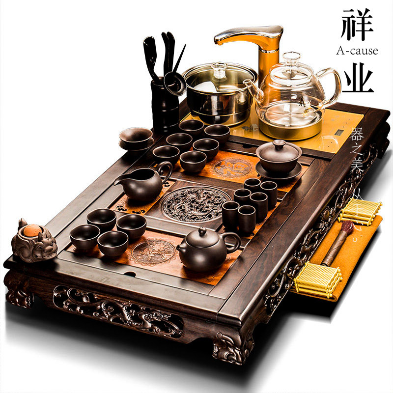 Xiangye ebony solid wood tea plate tea set set purple sand set of kung fu office guests fully automatic one home