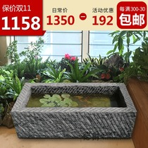 Stone trough fish tank stone trough flowing water fittings fish tank indoor stone carving outdoor courtyard stone fish tank stone trough flower pot