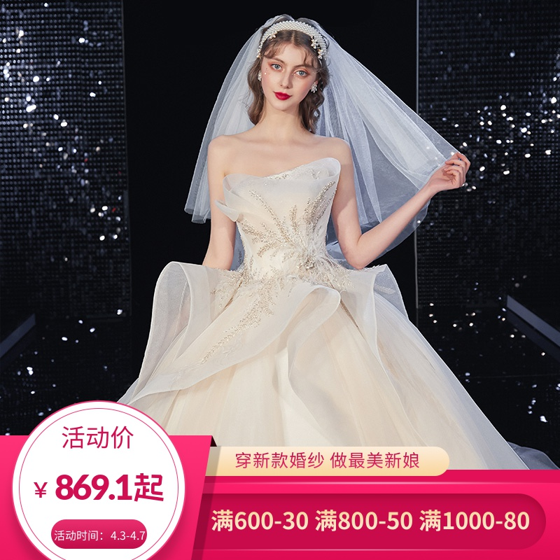 2020 new wedding dress is simple and magnificent, with super fairy dream and Korean temperament. The main dress is small and tailed