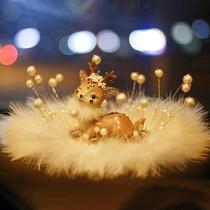 Road safety deer car interior decoration ornaments center console car supplies Daquan car goddess high-end female