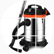 Janno holding a small household strong ultra quiet barrel type high power industrial wet carpet cleaner mites