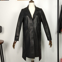 Leather Jurchen long irregular commuter loose bubble hem trench coat lapel cotton leather coat