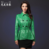 Female Europe cropped leather jacket xiongyoudigong leather leather slim Haining leather jacket new