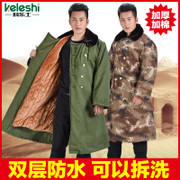 In the long winter coat male thickening commando yellow colored green jacket coat many female labor security clothes