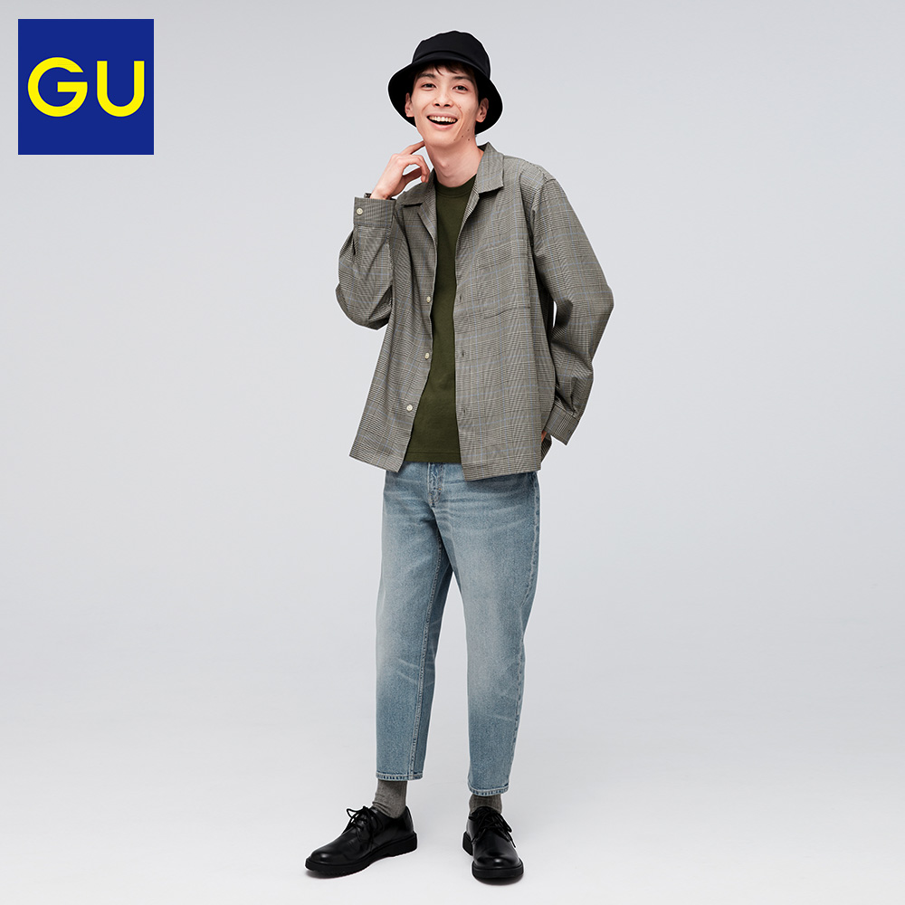 Gu excellent men's high waisted Slim Fit Jeans cropped pants (washed products) spring new fashion retro 323407