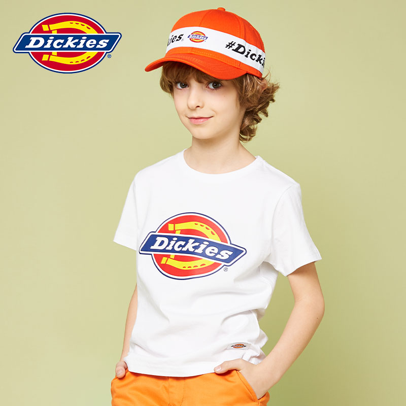 Dickies children's summer boys and girls' classic color logo fit round neck Pullover medium and large children's Short Sleeve T-Shirt