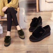 Maomao shoes female winter velvet plus 2017 new platform shoes thick bottom in Korean fashion all-match increased lazy shoes