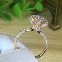 18K white gold Mossan stone ring female flowers rose gold eight heart eight arrow six claw ring 1 carat womens diamond ring