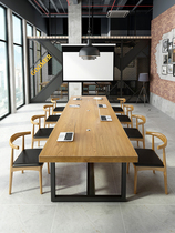 Solid wood conference table Long table Simple modern long table workbench Home computer office negotiation table and chair combination