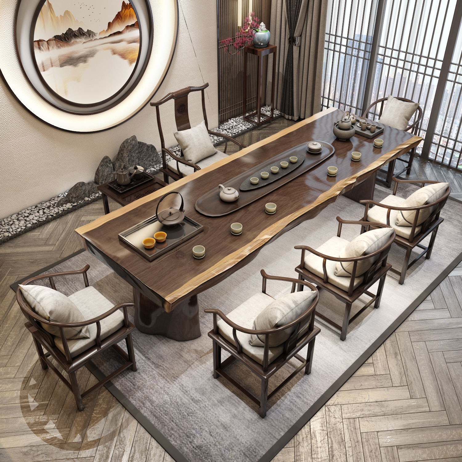Tea table solid wood tea 1 meter 8 new Chinese kung fu tea modern simple tea table and chair combination of large wooden board table