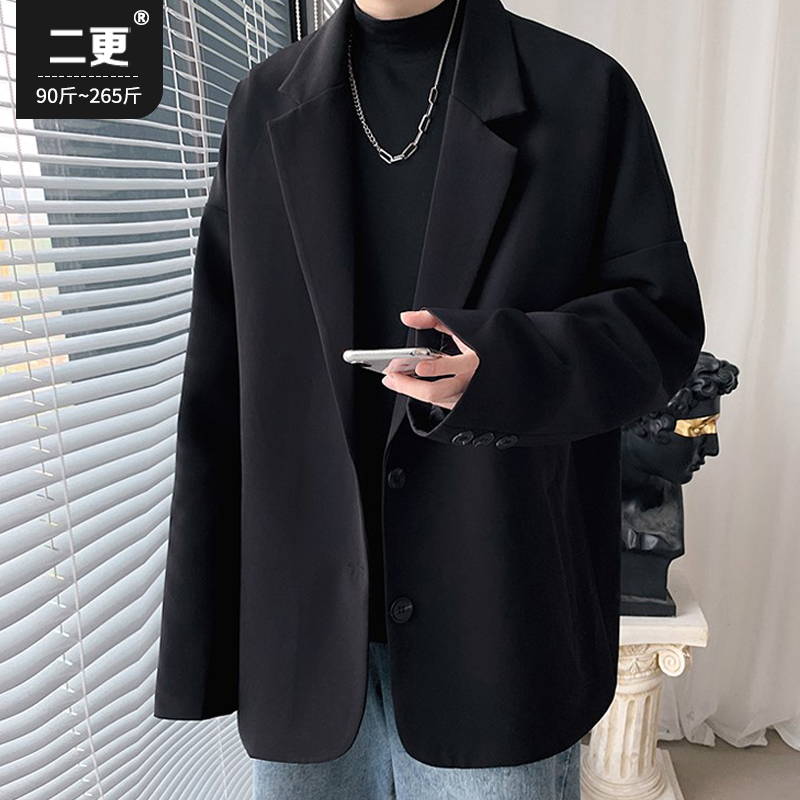 Black small suit jacket men's autumn and winter large size casual ins suits Korean version of the trend of all-match tops single
