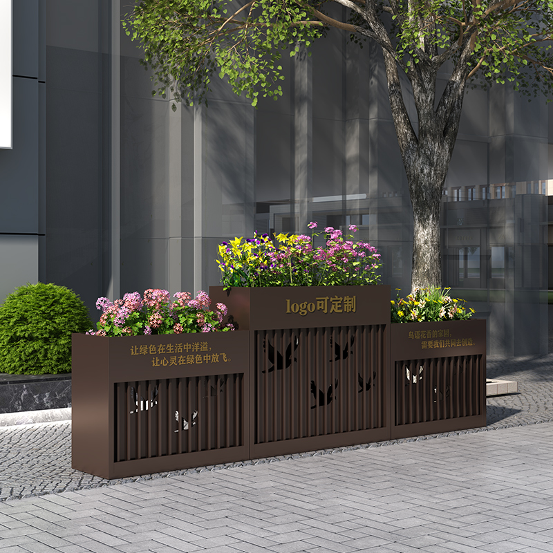 Outdoor flower box combination iron rust-free garden flower slot square street real estate sample house display center outdoor anti-corrosion flower bed