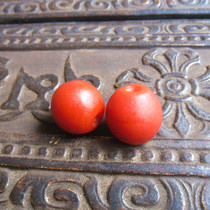 Late Qing Dynasty persimmon red old glass old beads beads hand string diy beads bonding Price