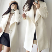 The 2017 winter season Korean woolen jacket lapel long white thick woolen coat female cocoon