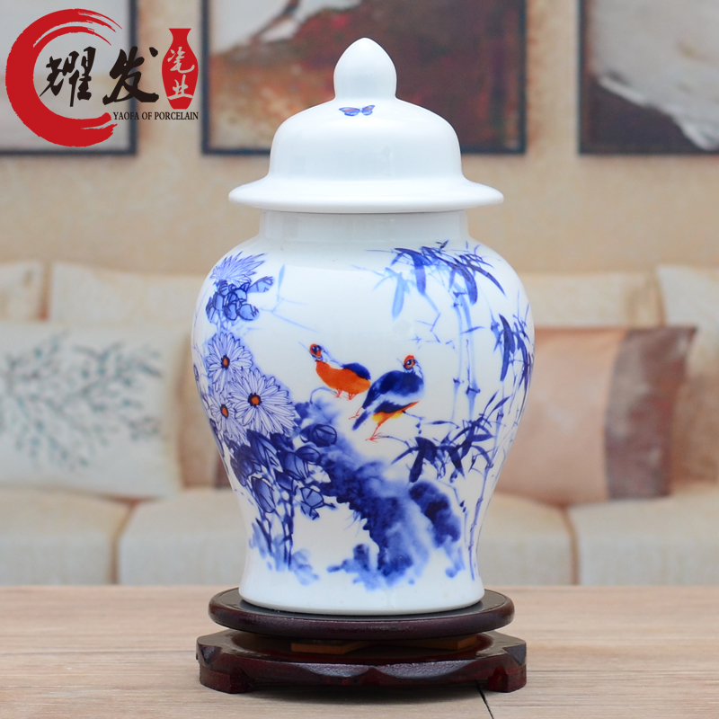Jingdezhen ceramic vase Chinese style decoration general tank white small porcelain bottle wine cabinet crafts home decorations