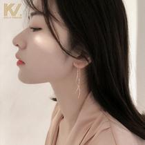 Cold wind earring 2021 new tassel earline female sterling silver eardrop web celebrity temperament long South Korea earring tide