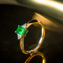 Spring lily diamond wing emerald ring 18k gold-encrusted processed jewelry ring to send girlfriend Valentines Day gift