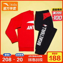 Anta boy set childrens Sports Set long-sleeved 2020 spring and autumn new leisure Big children sweater pants