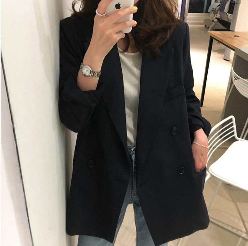 Japans spring autumn 2021 new small suit jacket female commuter loose-fitting British style casual suit top