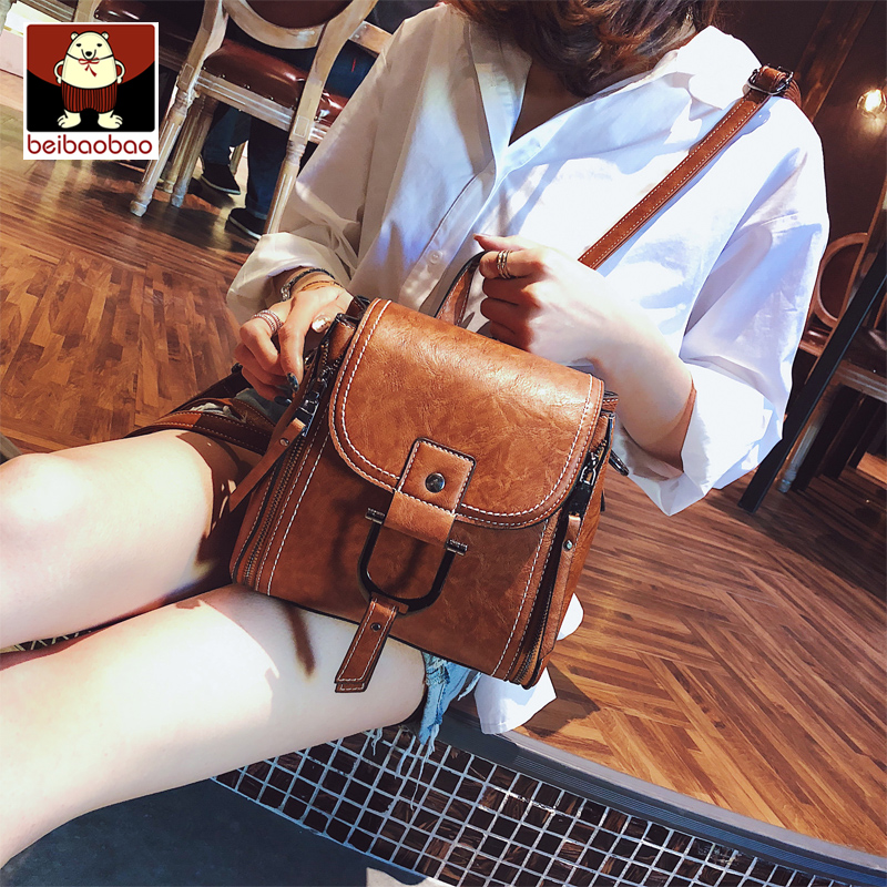 North bag shoulder bag female small backpack 2018 new bag female bag slung Korean version of the wild fashion soft leather shoulder