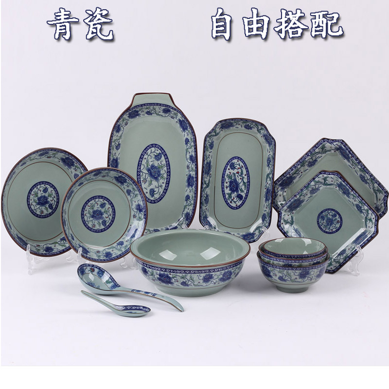 Jingdezhen ins meal bowl household earthenware bowl set dish set household ceramics old-fashioned creative celadon