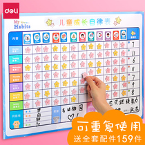Strong self-discipline table baby growth time wall sticker plan home adult daily behavior children learn to reward kindergarten magnetic interest sticker award good habits punching.