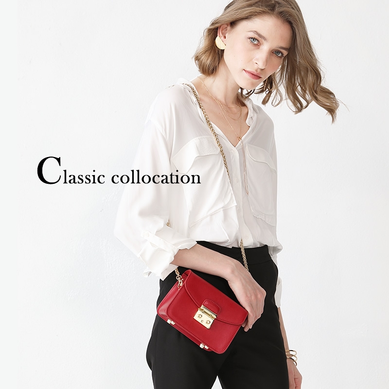 Leather Chain Bag with Oblique Square Bag and Girl Bag 2019 New Trendy Calf Leather Single Shoulder Red Mini Bag