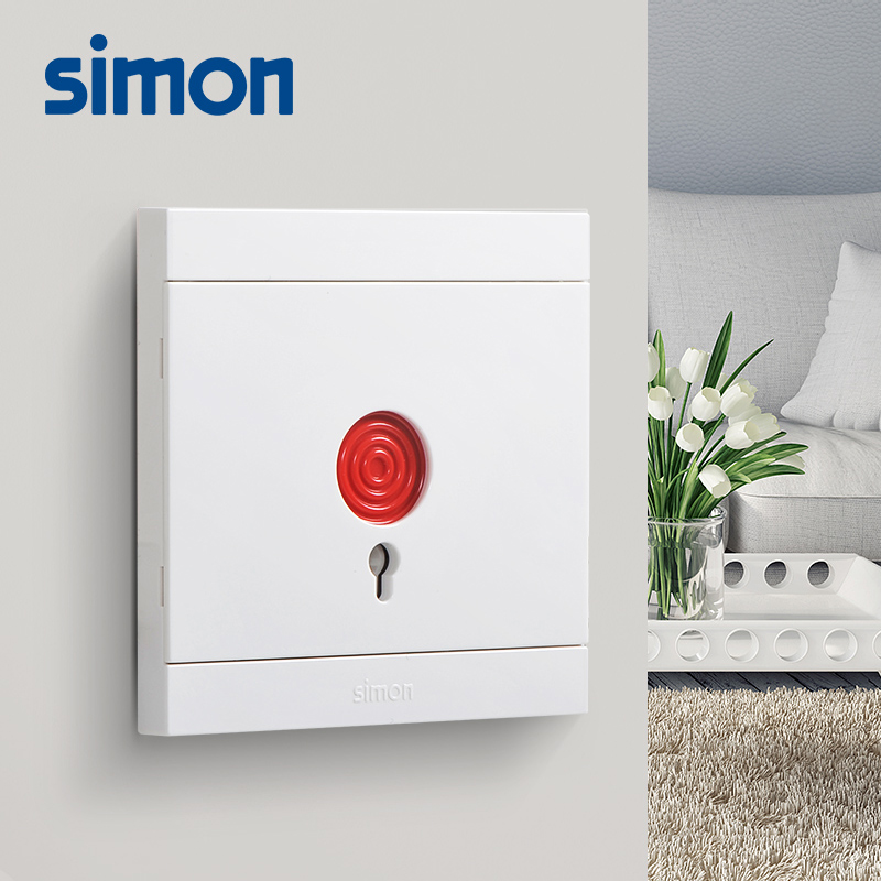 Simon Flagship Store Official Authentic Alarm Switch Panel I3 Snow Mountain White Emergency Switch Fire Button Panel