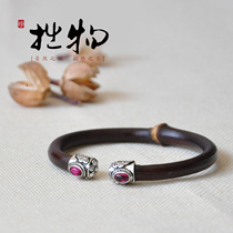 925 Pure Silver Bracelet with Chicken-blood-rattan, Tibet Bracelet with rattan, medicine-rattan and silver ornament for couples'parents