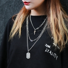 Euro-American Bundy Hip-hop Multilayer Necklace Women ins Chains Chain Chao Brand Cross Hanging Jewelry for Men's Accessories