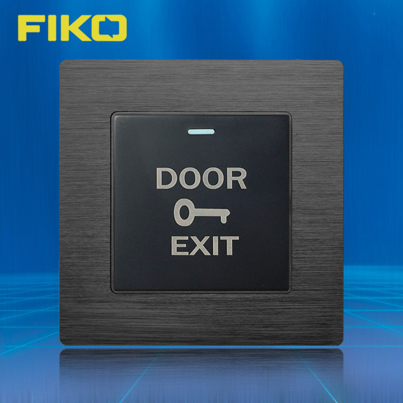 FIKO wall type 86 aluminum brushed black one single control switch door control switch access control key self-reset panel