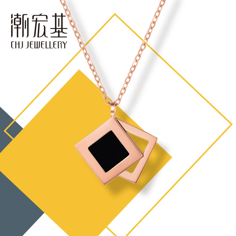 Focus of chaohongji - overlapping red 18 karat gold Agate Necklace geometric Pendant Chain ins minimalist female gift
