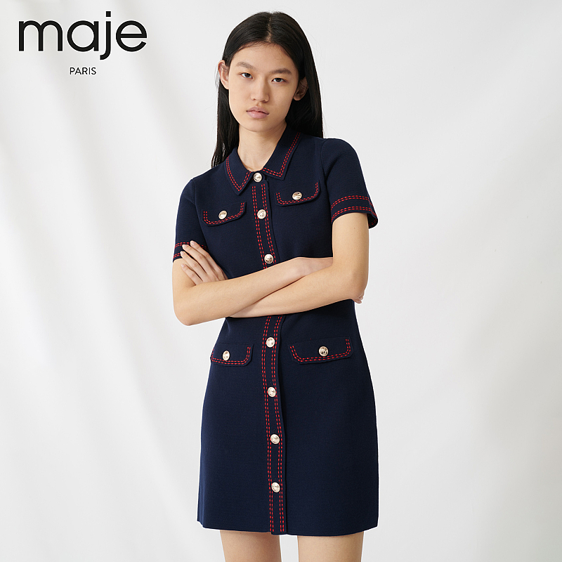 Maje2020 new women's color contrast button patch pocket little fragrant dress mfpro00761