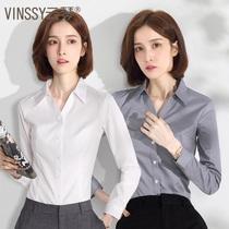 V-collar white shirt women long sleeve spring and autumn professional overalls non-iron fashion temperament dress overalls black shirt
