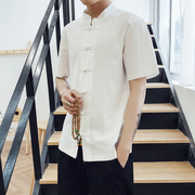 Chinese young men, short sleeved summer retro men pure linen jacket in Chinese Han costume male sleeve