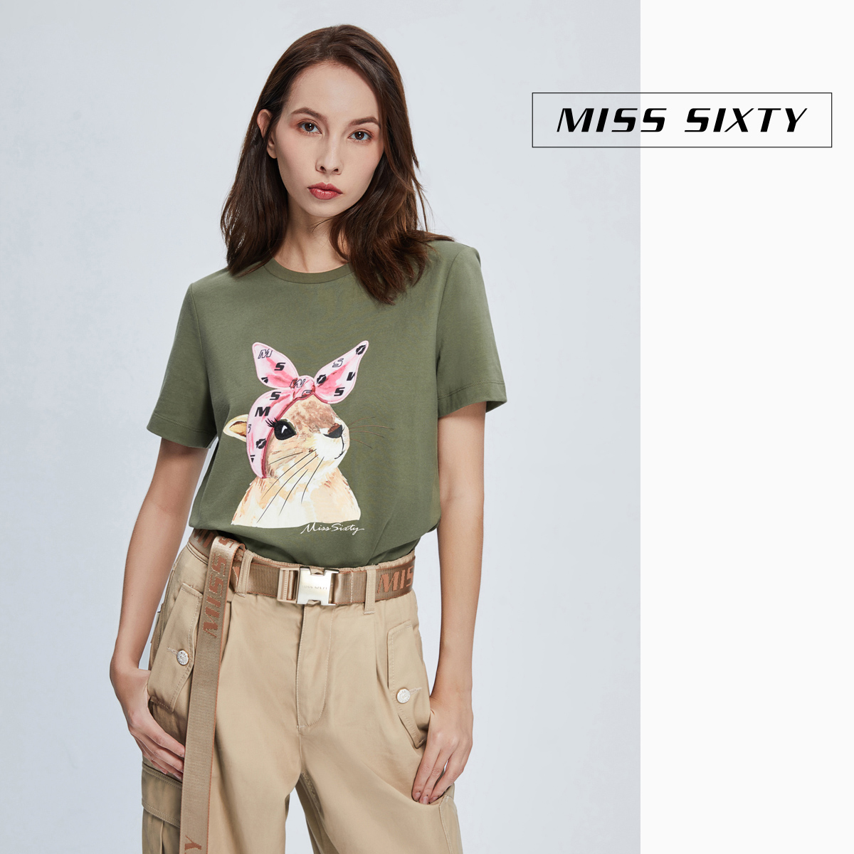 Miss sixty2020 spring new pure cotton printing fashion top round neck loose short sleeve T-shirt for women