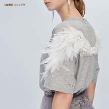 C Miss Sixty 2019 New Summer Angel Wing T-shirt with fairy round collar