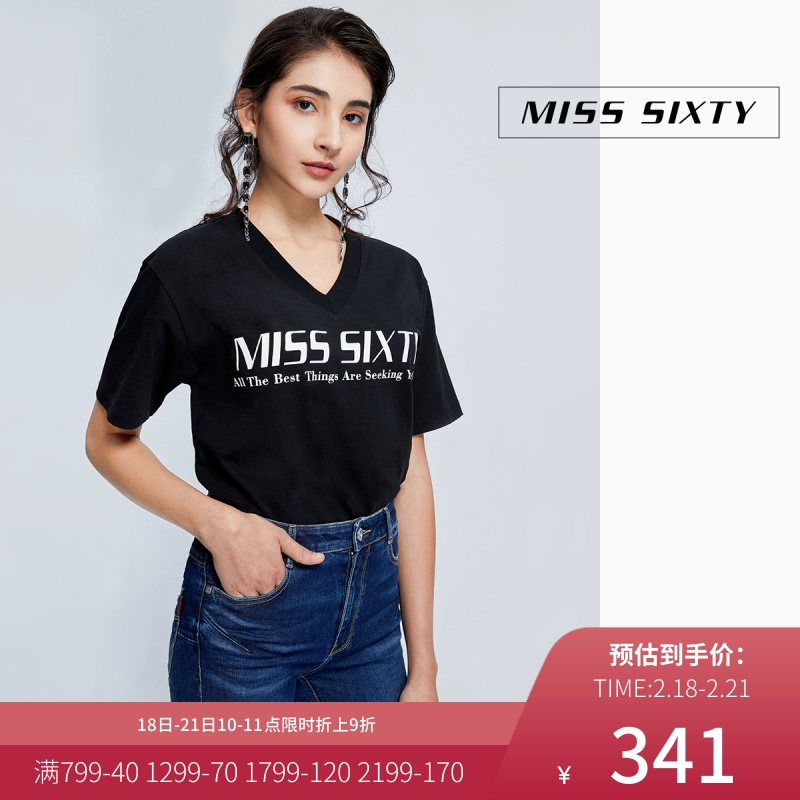 Miss sixty2020 spring new pure cotton V-neck print loose medium long short sleeve T-shirt for women