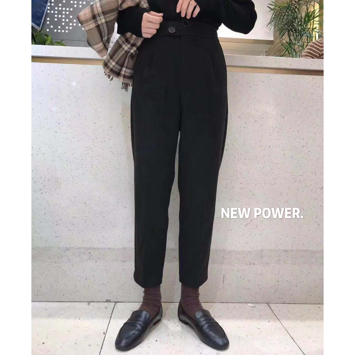 NPR E19502 autumn winter nine-point high-waisted black pants women show thin straight Korean version of the thick Harlan casual pants