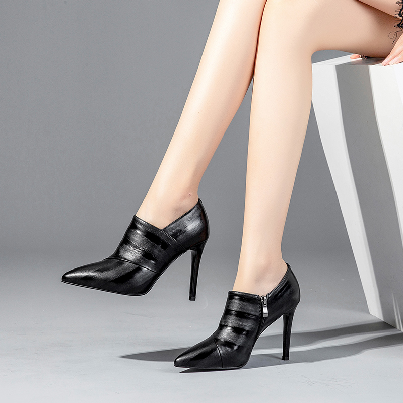 Deep-mouthed single-shoe cowhide high-heeled shoes Fall 2019 new fashionable thin-heeled and bare-boot waterproof platform pointed women's shoes