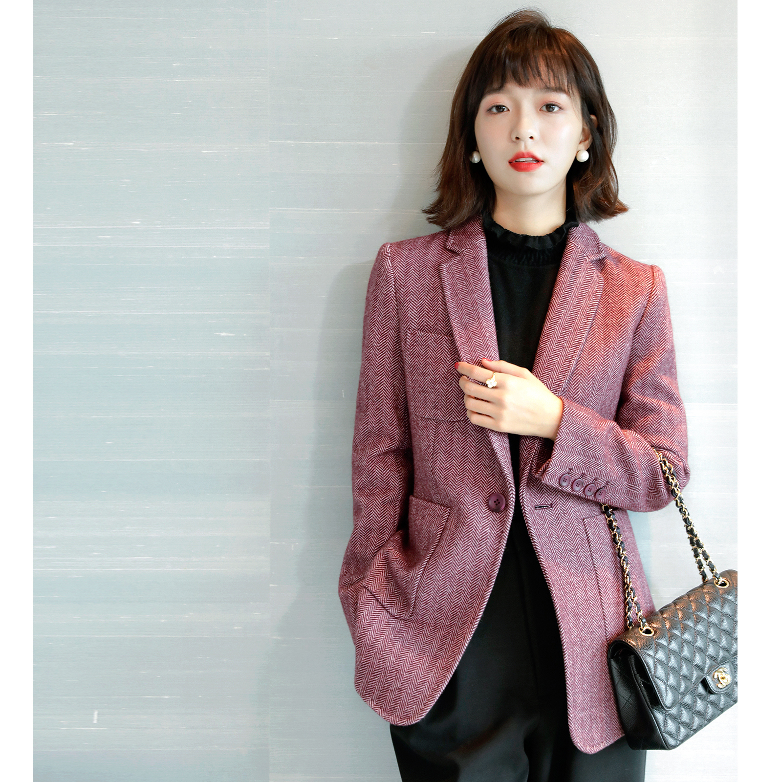 Suit jacket female 2020 new autumn winter Korean version shows thin slimming a button temperament human character hair small suit