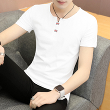 Short-sleeved men's summer t-shirt round neck Slim half-sleeved T-shirt clothes cotton white base solid color trend