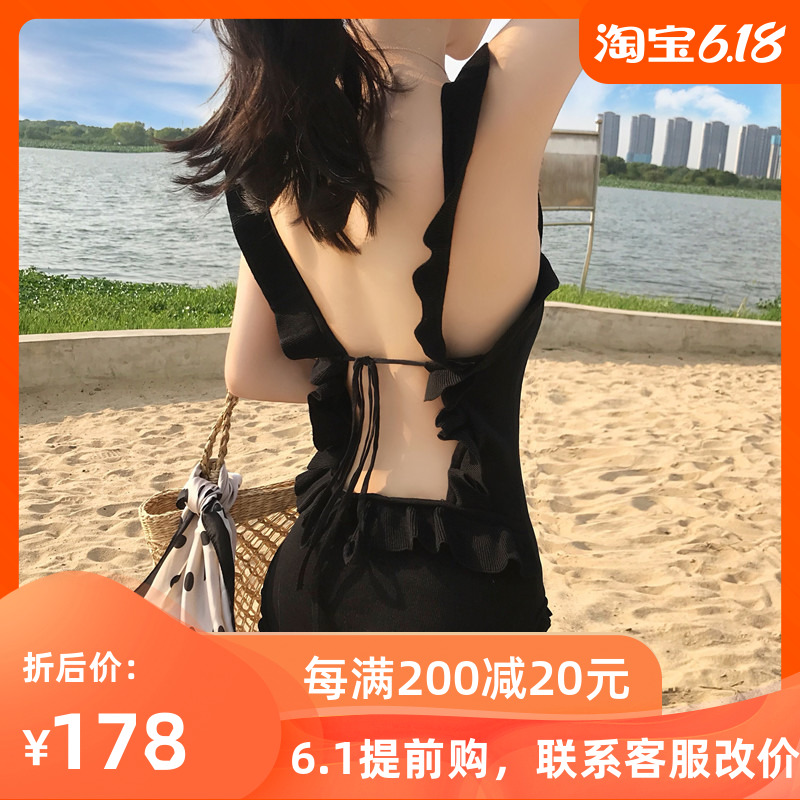 Swimsuit women's South Korean ins sexy one-piece open back small chest gathered bikini cover stomach show thin hot spring swimsuit