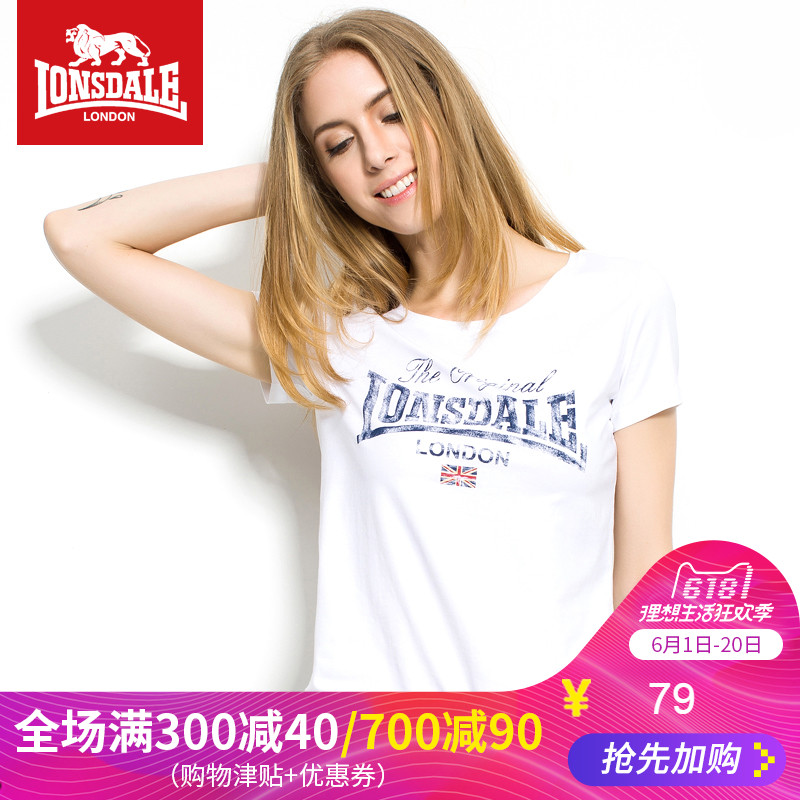 Lions Dale Summer British style ladies short-sleeved T-shirt Slim Round-collar short sleeve T-shirt styles M flag printed tide