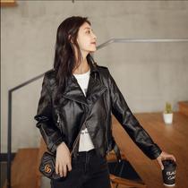 Sheep leather clothing women 2021 autumn and winter new womens short motorcycle jacket slim slim lapel leather coat