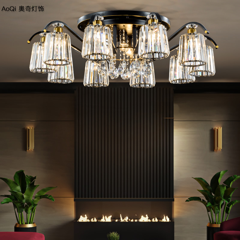 Living room lamp 2019 new style modern simple atmosphere American crystal light luxury chandelier European bedroom ceiling lamps and lanterns