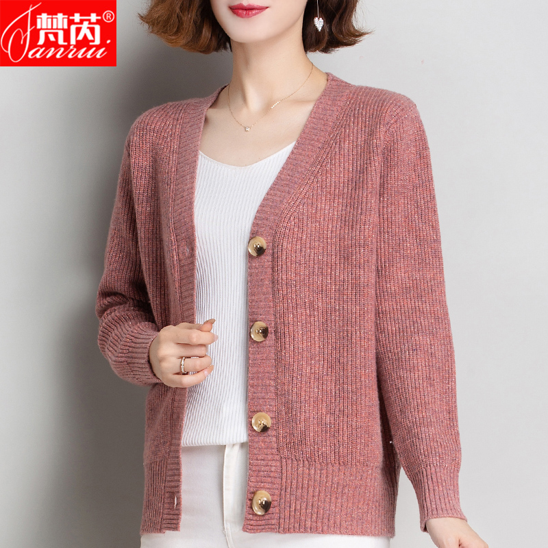 2020 new item sweater coat female 100 pure cardigan Female knitted cardigan thick loose lazy outside the tide