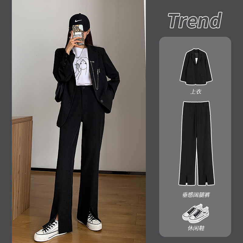 Open-cut suit pants women straight spring and summer encumble long forked trousers high-waisted large-sized hanging feeling thin broad-legged pants