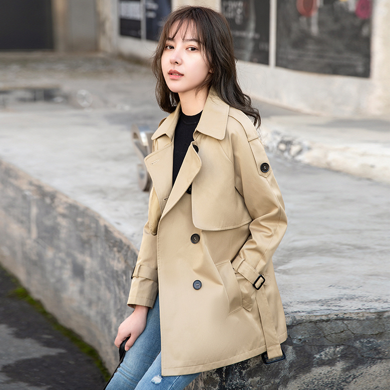 Short windbreaker women 2021 new high-end this years popular medium-long small khaki coat spring and autumn coat